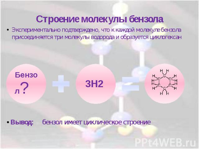 Строение молекулы бензолаЭкспериментально подтверждено, что к каждой молекуле бензола присоединяется три молекулы водорода и образуется циклогексан
