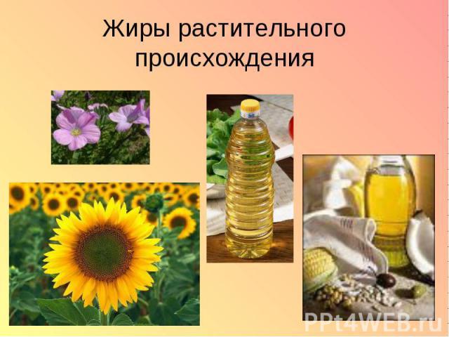 Жиры растительного происхождения