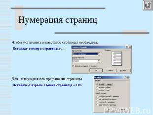 Нумерация страниц Чтобы установить нумерацию страницы необходимо Вставка- номера