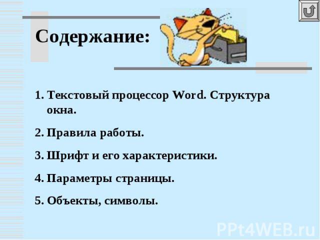 Содержание: Текстовый процессор Word. Структура окна.Правила работы.Шрифт и его характеристики.Параметры страницы.Объекты, символы.