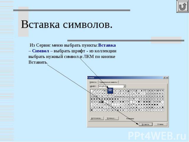 Вставка символов. Из Сервис меню выбрать пункты:Вставка – Символ – выбрать шрифт - из коллекции выбрать нужный символ и ЛКМ по кнопке Вставить.