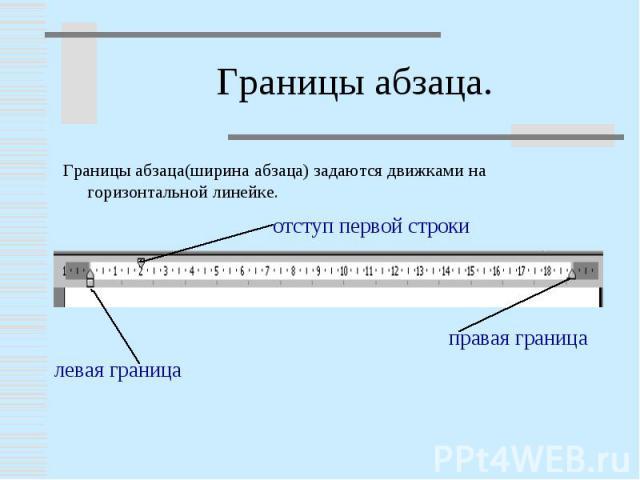 Границы абзаца(ширина абзаца) задаются движками на горизонтальной линейке.