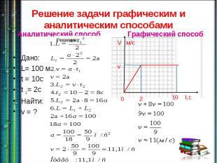Решение задачи графическим и аналитическим способами Дано: L= 100 мt = 10ct 1= 2