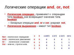 Логические операции and, or, not Логические операции - применяют к операндам тип