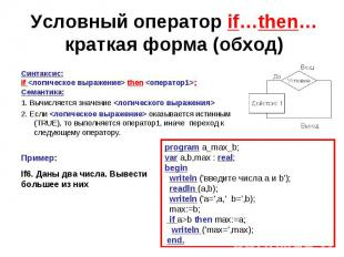 Условный оператор if…then…краткая форма (обход)Синтаксис:if then ;Семантика:1. В