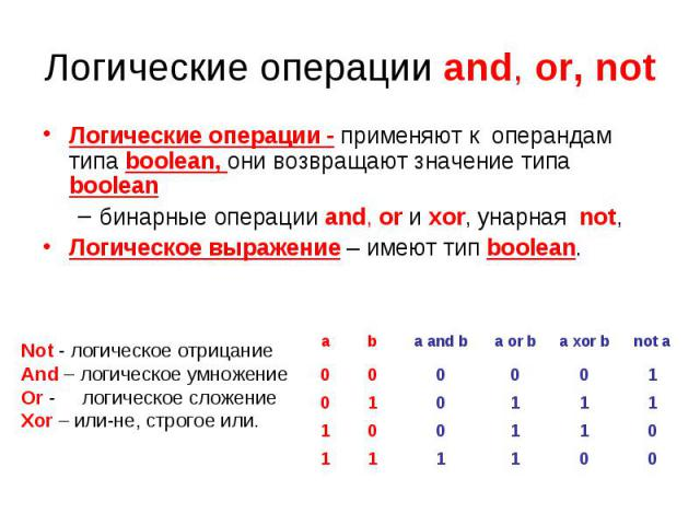 Логические операции and, or, not Логические операции - применяют к операндам типа boolean, они возвращают значение типа booleanбинарные операции and, or и xor, унарная not, Логическое выражение – имеют тип boolean. Not - логическое отрицание And – л…