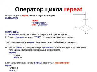 Оператор цикла repeatОператор цикла repeat имеет следующую форму: СИНТАКСИС: rep