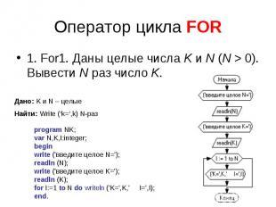Оператор цикла FOR 1. For1. Даны целые числаK иN (N>0). Вывести Nраз число