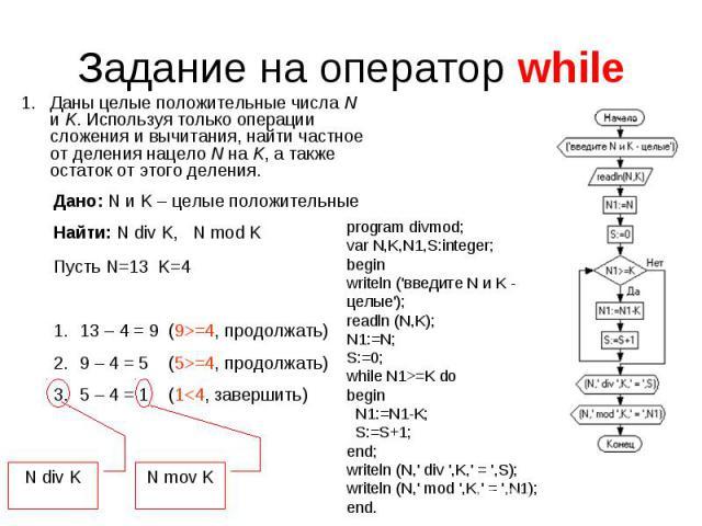 Задание на оператор while Даны целые положительные числаN иK. Используя только операции сложения и вычитания, найти частное от деления нацелоN наK, а также остаток от этого деления. Дано: N и K – целые положительныеНайти: N div K, N mod K Пусть …