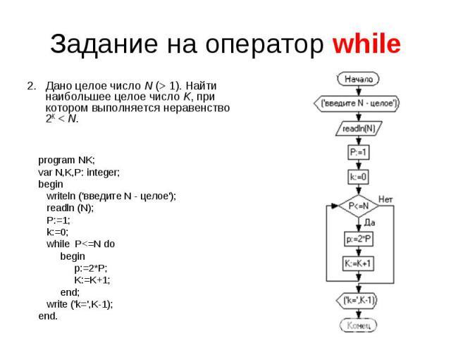 Задание на оператор while Дано целое числоN (>1). Найти наибольшее целое числоK, при котором выполняется неравенство 2K