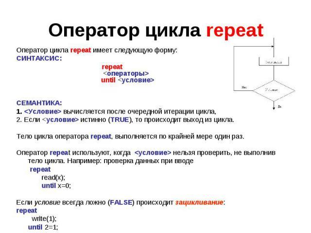 Оператор цикла repeatОператор цикла repeat имеет следующую форму: СИНТАКСИС: repeat <операторы> until <условие>