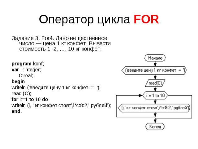Оператор цикла FOR Задание 3. For4. Дано вещественное число — цена 1кг конфет. Вывести стоимость 1, 2,…, 10кг конфет. program konf;var i :integer; C:real;beginwriteln ('введите цену 1 кг конфет = ');read (C);for i:=1 to 10 dowriteln (i, ' кг конф…
