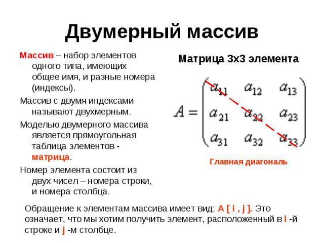 Массив – набор элементов одного типа, имеющих общее имя, и разные номера (индексы).Массив с двумя индексами называют двухмерным.Моделью двумерного массива является прямоугольная таблица элементов - матрица.Номер элемента состоит из двух чисел – номе…