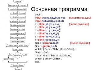 begin input (xa,ya,xb,yb,xc,yc); {вызов процедуры} input (xd,yd,xe,ye,xf,yf); a: