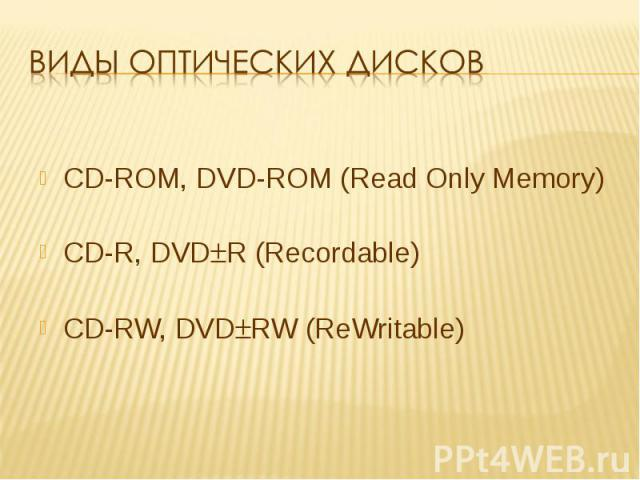 Виды оптических дисков CD-ROM, DVD-ROM (Read Only Memory)CD-R, DVDR (Recordable)CD-RW, DVDRW (ReWritable)