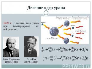 Деление ядер урана 1939 г. – деление ядер урана при бомбардировке их нейтронами.