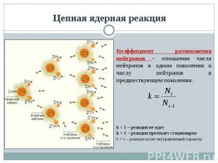 Цепная ядерная реакция Коэффициент размножения нейтронов – отношение числа нейтр