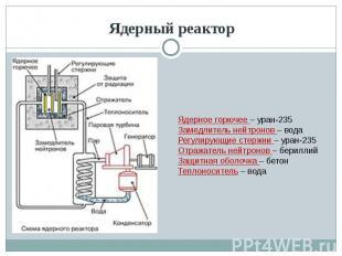 Ядерный реактор Ядерное горючее – уран-235Замедлитель нейтронов – водаРегулирующ