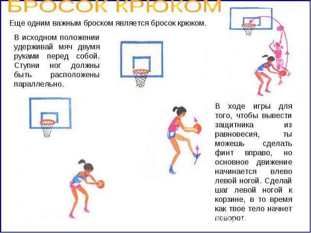 БРОСОК КРЮКОМ Еще одним важным броском является бросок крюком. В исходном положении удерживай мяч двумя руками перед собой. Ступни ног должны быть расположены параллельно. В ходе игры для того, чтобы вывести защитника из равновесия, ты можешь сделат…