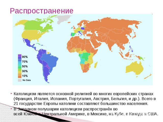 Распространение Католицизм является основной религией во многихевропейскихстранах (Франция,Италия,Испания,Португалия,Австрия, Бельгия, и др.). Всего в 21 государстве Европы католики составляют большинство населения.В Западном полушарии католиц…