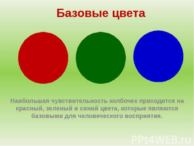 Базовые цветаНаибольшая чувствительность колбочек приходится на красный, зеленый и синий цвета, которые являются базовыми для человеческого восприятия.