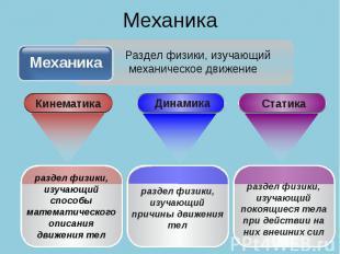 Механика Механика Раздел физики, изучающий механическое движение раздел физики,
