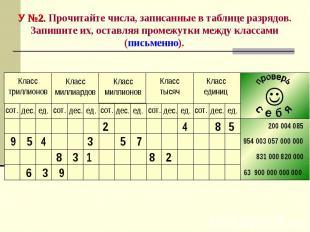 У №2. Прочитайте числа, записанные в таблице разрядов. Запишите их, оставляя про