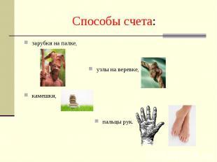Способы счета: зарубки на палке,узлы на веревке,камешки,пальцы рук.