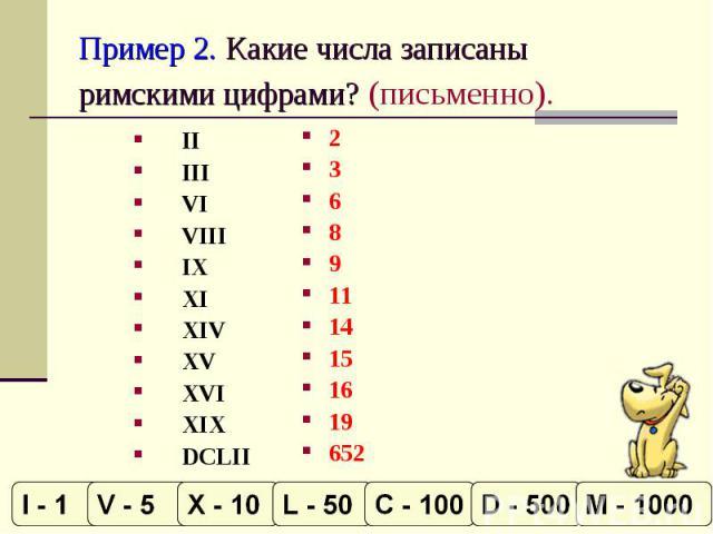 Пример 2. Какие числа записаны римскими цифрами? (письменно). IIIIIVIVIIIIXXIXIVXVXVI XIXDCLII 236891114151619652