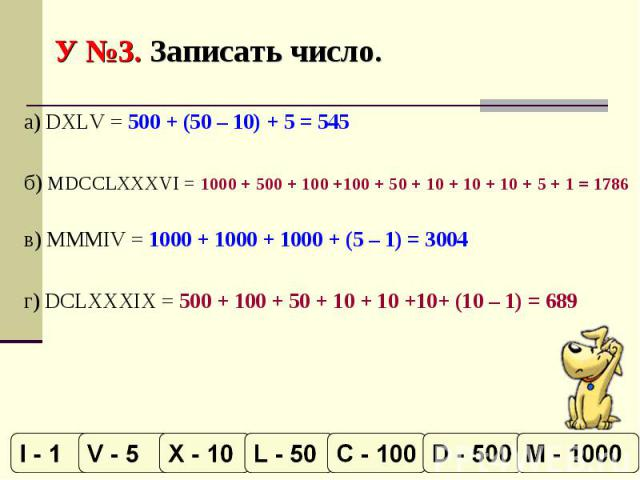 У №3. Записать число. а) DXLV = 500 + (50 – 10) + 5 = 545б) MDCCLXXXVI = 1000 + 500 + 100 +100 + 50 + 10 + 10 + 10 + 5 + 1 = 1786в) MMMIV = 1000 + 1000 + 1000 + (5 – 1) = 3004г) DCLXXXIX = 500 + 100 + 50 + 10 + 10 +10+ (10 – 1) = 689