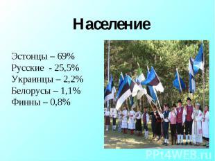 Население Эстонцы – 69%Русские - 25,5%Украинцы – 2,2%Белорусы – 1,1%Финны – 0,8%