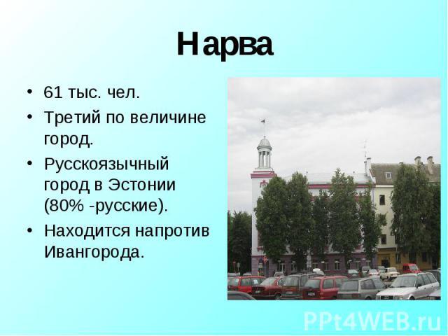 61 тыс. чел.Третий по величине город.Русскоязычный город в Эстонии (80% -русские).Находится напротив Ивангорода.