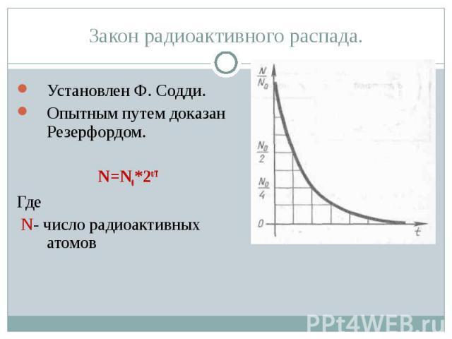 Закон радиоактивного распада. Установлен Ф. Содди.Опытным путем доказан Резерфордом.N=N0*2t/TГде N- число радиоактивных атомов