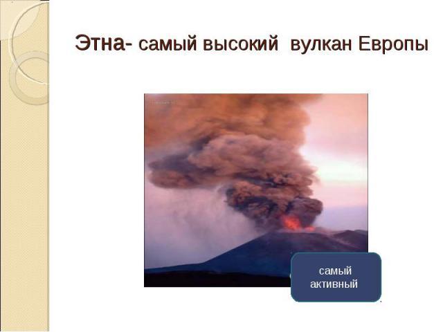 Этна- самый высокий вулкан Европы