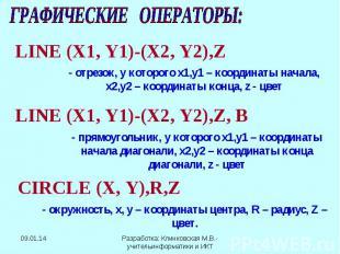 ГРАФИЧЕСКИЕ ОПЕРАТОРЫ: LINE (X1, Y1)-(X2, Y2),Z - отрезок, у которого х1,у1 – ко