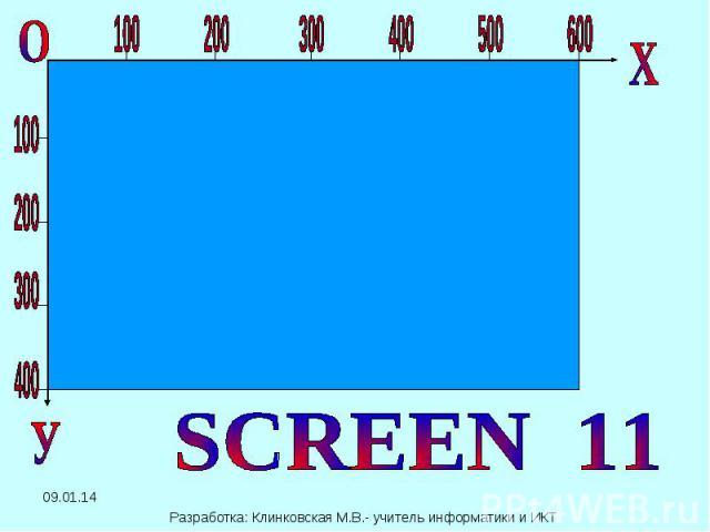 SCREEN 11 Разработка: Клинковская М.В.- учитель информатики и ИКТ