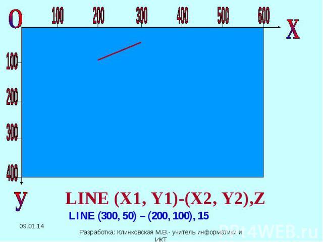 LINE (X1, Y1)-(X2, Y2),Z LINE (300, 50) – (200, 100), 15