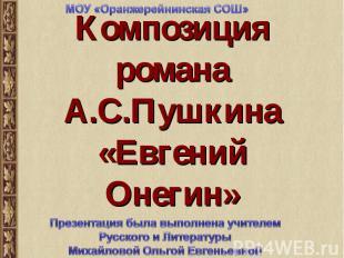 МОУ «Оранжерейнинская СОШ» Композиция романа А.С.Пушкина«Евгений Онегин» Презент