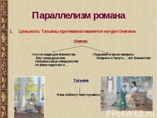 Параллелизм романа Цельность Татьяны противопоставляется натуре ОнегинаОнегин -