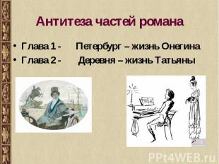 Антитеза частей романа Глава 1 - Петербург – жизнь ОнегинаГлава 2 - Деревня – жи