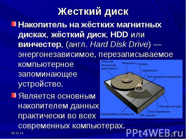 Жесткий диск Накопитель на жёстких магнитных дисках, жёсткий диск, HDD или винчестер, (англ. Hard Disk Drive) — энергонезависимое, перезаписываемое компьютерное запоминающее устройство. Является основным накопителем данных практически во всех соврем…