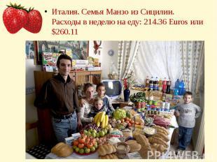 Италия. Семья Манзо из Сицилии.Расходы в неделю на еду: 214.36 Euros или $260.11