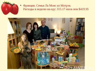 Франция. Семья Ла Монс из Мотрэя.Расходы в неделю на еду: 315.17 euros или $419.