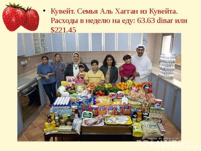 Кувейт. Семья Аль Хагган из Кувейта.Расходы в неделю на еду: 63.63 dinar или $221.45