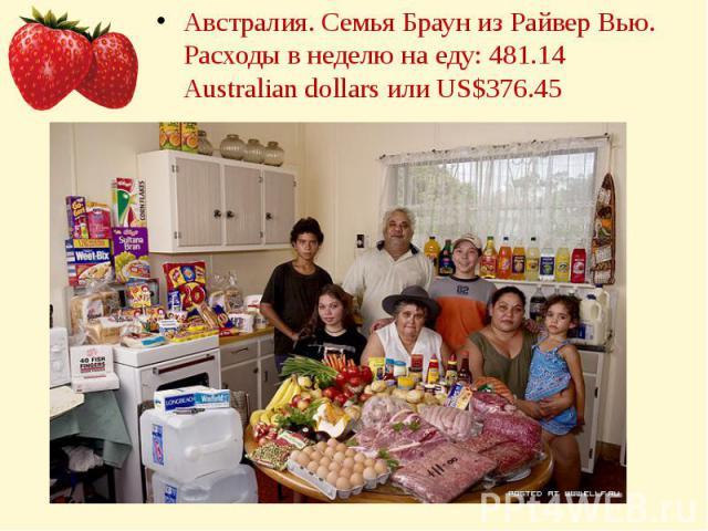 Австралия. Семья Браун из Райвер Вью.Расходы в неделю на еду: 481.14 Australian dollars или US$376.45