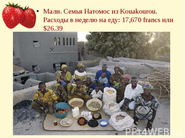 Мали. Семья Натомос из Kouakourou.Расходы в неделю на еду: 17,670 francs или $26.39