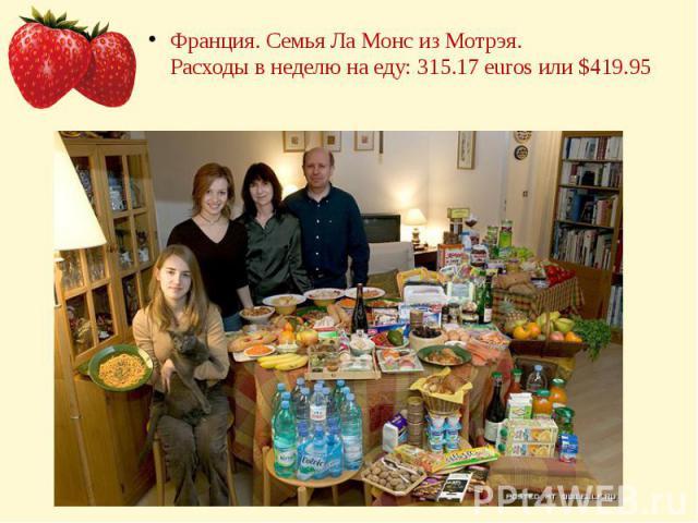 Франция. Семья Ла Монс из Мотрэя.Расходы в неделю на еду: 315.17 euros или $419.95