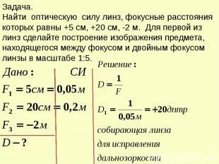 Задача. Найти оптическую силу линз, фокусные расстояния которых равны +5 см, +20