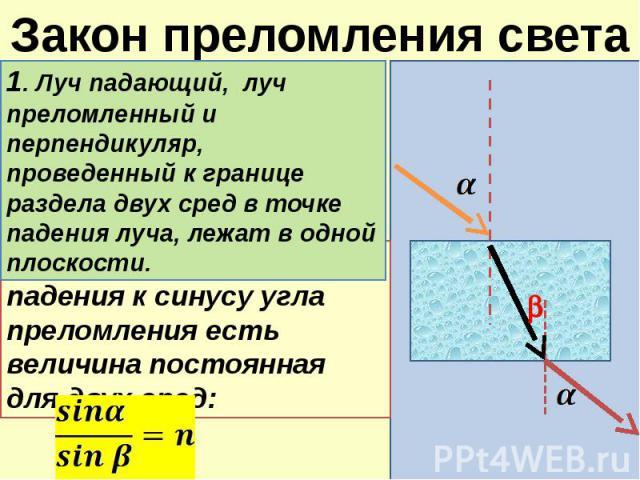 Закон преломления света 1. Луч падающий, луч преломленный и перпендикуляр, проведенный к границе раздела двух сред в точке падения луча, лежат в одной плоскости. 2.Отношение синуса угла падения к синусу угла преломления есть величина постоянная для …