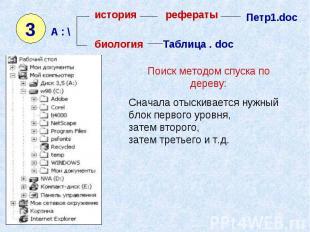 история рефераты Петр1.doc биология Таблица . doc Поиск методом спуска по дереву